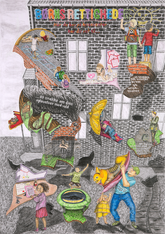 Plakat med tegninger af rettigheder for børn på krisecenter af Kasper Købke