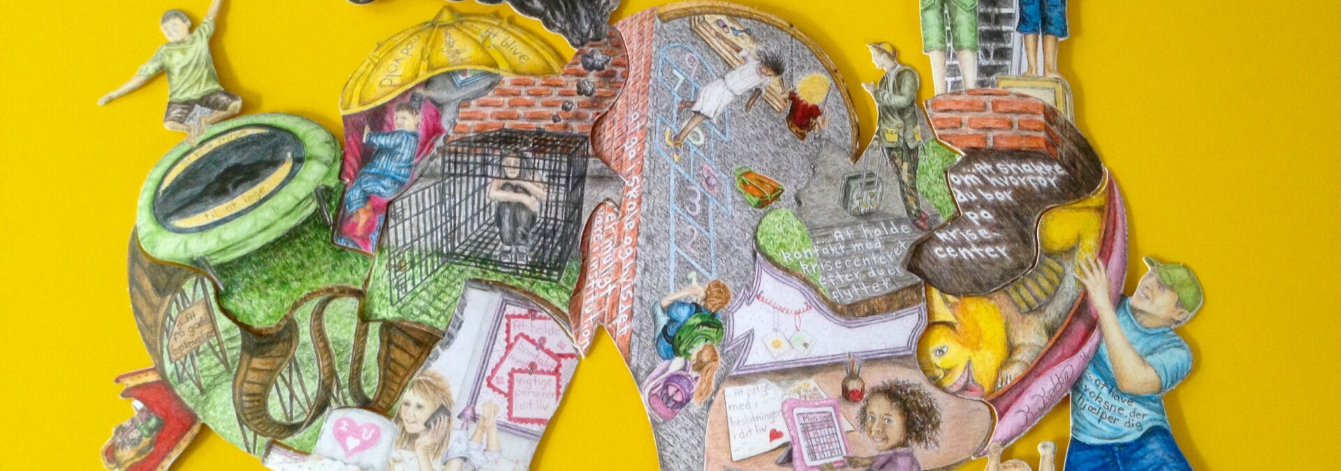 Puslespil med tegninger af rettigheder for børn på krisecenter