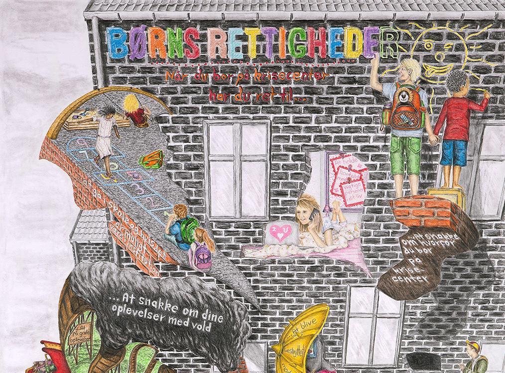 Udsnit af plakat med tegninger af rettigheder for børn på krisecenter af Kasper Købke