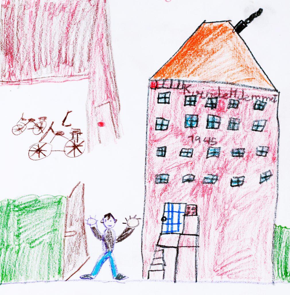 Tegning af Kvindehjemmets facade med dreng udenfor