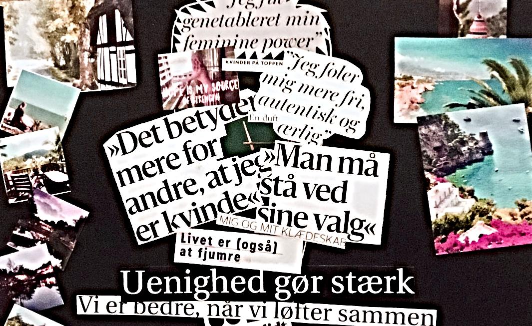 Udsnit af collage med billeder og tekst